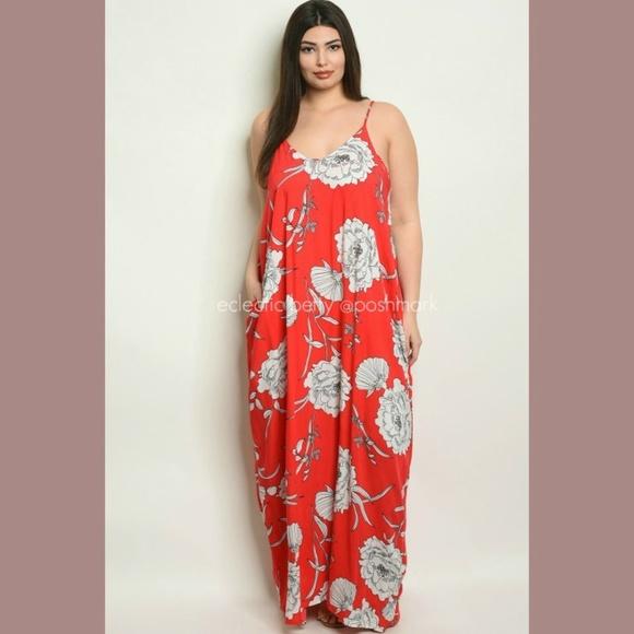 Harem Maxi Dress Plus Size Red Floral Loose Fit Boutique